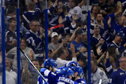 Ondrej Palat #18 of the Tampa Bay Lightning celebrates with his teammates Victor Hedman #77, Steven Stamkos #91, and Dan Girardi #5 after scoring a goal on Braden Holtby #70 of the Washington Capitals during the first period in Game Five of the Eastern Conference Finals during the 2018 NHL Stanley Cup Playoffs at Amalie Arena on May 19, 2018 in Tampa, Florida.