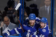 Ondrej Palat #18 of the Tampa Bay Lightning celebrates with his teammate Victor Hedman #77 after scoring a goal on Braden Holtby #70 of the Washington Capitals during the first period in Game Five of the Eastern Conference Finals during the 2018 NHL Stanley Cup Playoffs at Amalie Arena on May 19, 2018 in Tampa, Florida.