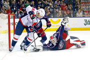 Sergei Bobrovsky #72 of the Columbus Blue Jackets stops a shot from Chandler Stephenson #18 of the Washington Capitals during the first period during the first period in Game Four of the Eastern Conference First Round during the 2018 NHL Stanley Cup Playoffs on April 19, 2018 at Nationwide Arena in Columbus, Ohio.