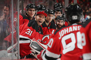 Eddie Lack #31 and the New Jersey Devils celebrate a second period goal by Marcus Johansson #90 against the Washington Capitals at the Prudential Center on October 11, 2018 in Newark, New Jersey.