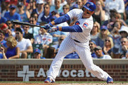 Anthony Rizzo #44 of the Chicago Cubs collects the 1,000th hit of his career, a single in the 3rd inning, against the Washington Nationals at Wrigley Field on August 11, 2018 in Chicago, Illinois.