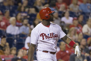 Ryan Howard #6 of the Philadelphia Phillies hits a two run home run in the bottom of the seventh inning against the Washington Nationals at Citizens Bank Park on August 30, 2016 in Philadelphia, Pennsylvania. The Nationals defeated the Phillies 3-2.