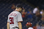 Max Scherzer #31 of the Washington Nationals walks around the mound after giving up a two run home run to Ryan Howard #6 of the Philadelphia Phillies in the bottom of the seventh inning at Citizens Bank Park on August 30, 2016 in Philadelphia, Pennsylvania. The Nationals defeated the Phillies 3-2.