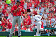 Doug Fister #58 of the Washington Nationals asks for a new baseball after giving up a solo hoe run to Matt Holliday #7 of the St. Louis Cardinals during the third inning at Busch Stadium on June 15, 2014 in St. Louis, Missouri.