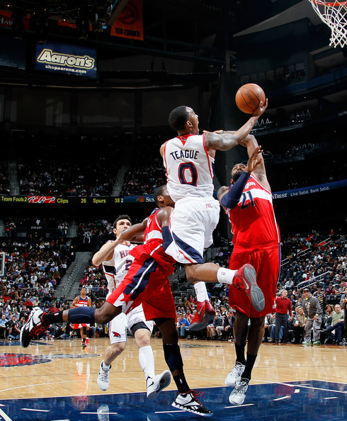 Jeff Teague looks to finish inside vs. WAS