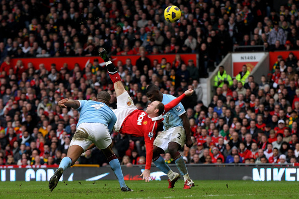 Wayne Rooney Wayne Rooney of Manchester United scores a goal from an overhead kick during the Barclays Premier League match between Manchester United and Manchester City at Old Trafford on February 12, 2011 in Manchester, England.
