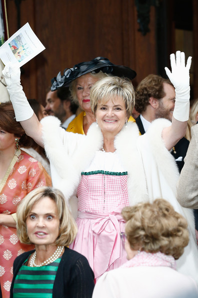 Gloria von Thurn und Taxis  seen after the Wedding ceremony  of Princess Maria Theresia von Thurn und Taxis and Hugo Wilson on September 13, 2014 in Tutzing, Germany.