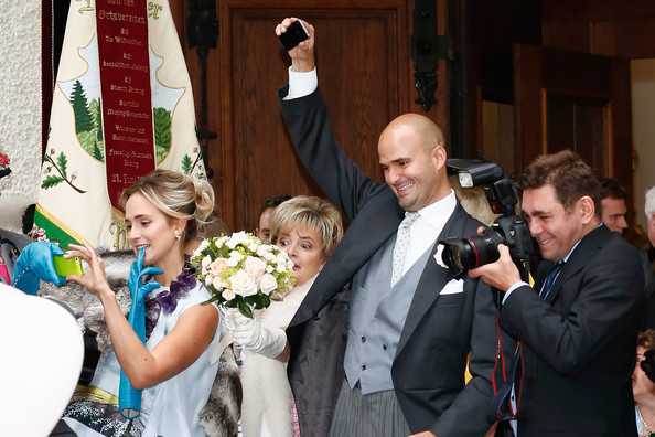 (L-R) Princess Elisabeth von Thurn und Taxis,  Gloria von Thurn und Taxis and Prince Albert von Thurn und Taxis seen after the Wedding ceremony  of Princess Maria Theresia von Thurn und Taxis and Hugo Wilson on September 13, 2014 in Tutzing, Germany.