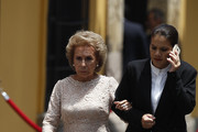 Bride's grandmother walks during the wedding of Prince Christian of Hanover and  Alessandra de Osma at Basilica San Pedro on March 16, 2018 in Lima, Peru.