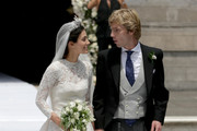 Alessandra de Osma and Prince Christian of Hanover leave the church after their wedding at Basilica San Pedro on March 16, 2018 in Lima, Peru.