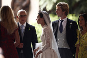Alessandra de Osma and Prince Christian of Hanover next to the bride's father Felipe de Osma Berckemeyer after the wedding of Prince Christian of Hanover and  Alessandra de Osma at Basilica San Pedro on March 16, 2018 in Lima, Peru.