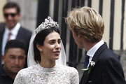 Alessandra de Osma and Prince Christian of Hanover walk out of the church after their wedding at Basilica San Pedro on March 16, 2018 in Lima, Peru.