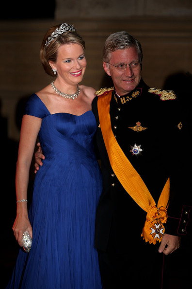 Princess Mathilde of Belgium and Prince Philippe of Belgium attend the Gala dinner for the wedding of Prince Guillaume Of Luxembourg and Stephanie de Lannoy at the Grand-ducal Palace on October 19, 2012 in Luxembourg, Luxembourg. The 30-year-old hereditary Grand Duke of Luxembourg is the last hereditary Prince in Europe to get married, marrying his 28-year old Belgian Countess bride in a lavish 2-day ceremony.