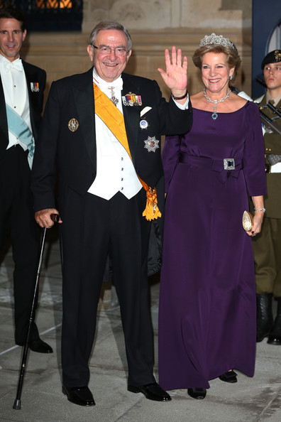 King Constantine of Greece and Queen Anne Marie of Greece attend the Gala dinner for the wedding of Prince Guillaume Of Luxembourg and Stephanie de Lannoy at the Grand-ducal Palace on October 19, 2012 in Luxembourg, Luxembourg. The 30-year-old hereditary Grand Duke of Luxembourg is the last hereditary Prince in Europe to get married, marrying his 28-year old Belgian Countess bride in a lavish 2-day ceremony.