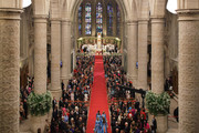 (NO SALES, NO ARCHIVE)  In this handout image provided by the Grand-Ducal Court of Luxembourg, Princess Stephanie of Luxembourg walks down the aisle with her brother Count Jehan de Lannoy during the wedding ceremony of Prince Guillaume Of Luxembourg and Stephanie de Lannoy at the Cathedral of our Lady of Luxembourg on October 20, 2012 in Luxembourg, Luxembourg. The 30-year old hereditary Grand Duke of Luxembourg is the last hereditary Prince in Europe to get married, marrying his 28-year old Belgian Countess bride in a lavish 2-day ceremony.