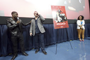 Actor Josh Gad (R) and actor/comedian (L) Kevin Hart speak on stage during the 'The Wedding Ringer' Screening in Miami at Regal South Beach on January 8, 2015 in Miami, Florida.