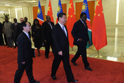 Chinese President Xi Jinping (C) attends a meeting with Namibian Prime Minister Hage Geingob at the Great Hall of the People April 8, 2014 in Beijing, China. (Photo by Parker Song-Pool/Getty Images).