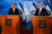 In this handout provided by the Israeli Government Press Office,  Israeli Prime minister Benjamin Netanyahu and United Nations (UN) Secretary-General Ban Ki-Moon attend a press conference ahead of their meeting at the Prime minister office in Jerusalem on October 13, 2014 in Jerusalem.