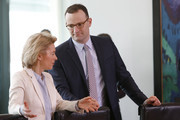Defense Minister Ursula von der Leyen and Health Minister Jens Spahn arrive for the weekly government cabinet meeting on March 21, 2018 in Berlin, Germany. High on the morning's agenda was the 2017 disarmament report of the Foreign Ministry.