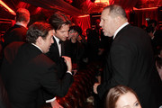 (L-R) Jonah Hill, Bradley Cooper and Harvey Weinstein attend the The Weinstein Company's 2013 Golden Globe Awards after party presented by Chopard, HP, Laura Mercier, Lexus, Marie Claire, and Yucaipa Films held at The Old Trader Vic's at The Beverly Hilton Hotel on January 13, 2013 in Beverly Hills, California.