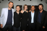 (L-R) Producer John Battsek, Russell Baer, co-producer Caitrin Rogers, director Amir Bar-Lev and actor Josh Brolin attend the after party for the premiere of The Tillman Story presented by The Weinstein Company and A&E IndieFilms at Michael's on August 9, 2010 in New York City.