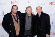 """Director Julian Schnabel, actor Robert DeNiro and producer Jon Kilik attend the premiere of Julian Schnabel's """"Miral"""" hosted by The Weinstein Company and His Excellency Mr. Joseph Deiss, President of the 65th session of the United Nations General Assembly at United Nations General Assembly Hall on March 14, 2011 in New York City."""
