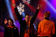 Stefan Groothuis celebrates on the main stage during the Welcome Home Reception Held For Dutch Winter Olympic Athletes on February 24, 2014 in Assen, Netherlands.