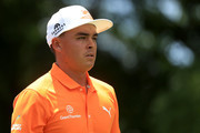 Rickie Fowler walks off the third tee during the final round of the 2018 Wells Fargo Championship at Quail Hollow Club on May 6, 2018 in Charlotte, North Carolina.