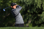 Rory McIlroy of Northern Ireland plays his tee shot on the 13th hole during the first round of the 2018 Wells Fargo Championship at Quail Hollow Club on May 3, 2018 in Charlotte, North Carolina.