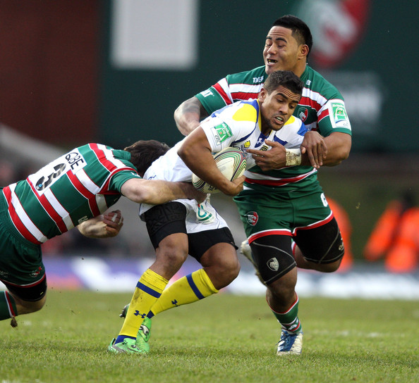 Leicester Centre Manu Tuilagi Is Tackled: Leicester Tigers V ASM Clermont
