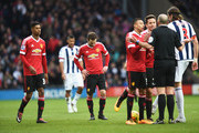 Juan Mata of Manchester United reacts after being sent off by referee Mike Dean during the Barclays Premier League match between West Bromwich Albion and Manchester United at The Hawthorns on March 6, 2016 in West Bromwich, England.
