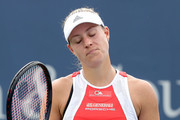 Angelique Kerber of Germany reacts to a lost point against Anett Kontaveit of Estonia during the Western & Southern Open at Lindner Family Tennis Center on August 13, 2019 in Mason, Ohio.