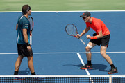 Bruno Soares of Brazil and Jamie Murray of Great Britain celebrate match point against Juan Sebastian Cabal and Robert Farah of Colombia during the men's doubles final of the Western & Southern Open at Lindner Family Tennis Center on August 19, 2018 in Mason, Ohio.