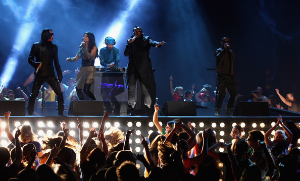Taboo, Fergie, Will.I.Am and Apl.de.ap of the Black Eyed Peas perform during the 'Wetten dass...?' show at the Volkswagenhalle on November 7, 2009 in Braunschweig, Germany.