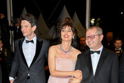 "(L-R) Sabine Tambrea, Catrinel Marlon and Corneliu Porumboiu attend the screening of ""The Whistlers (La Gomera/ Les Siffleurs)"" during the 72nd annual Cannes Film Festival on May 18, 2019 in Cannes, France."