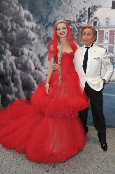 Natalia Vodianova (L) and Valentino (R) attend 'The White Fairy Tale Love Ball' in Support Of 'The Naked Heart Foundation' at Chateau De Wideville on July 6, 2011 in Crespieres, France.