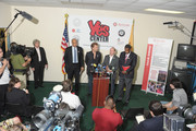 (L-R) Mayor Cory Booker, musician Jon Bon Jovi,  MWW Group President and CEO Michael Kempner, and Manchester Craftman's Guild Founder and CEO Bill Strickland address the press following the White House Council for Community Solutions Youth Listening Session at the Youth Success Center of Newark on June 6, 2011 in Newark, New Jersey.