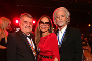 """(L-R) Herbert Reul, Ornella Muti and Hermann Buehlbecker attend the awarding of the medal """"Wider den tierischen Ernst"""" during the carnival season on February 08, 2020 in Aachen, Germany."""