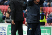 West Ham United Manager Avram Grant reacts during the Barclays Premier League match between Wigan Athletic and West Ham United at the DW Stadium on May 15, 2011 in Wigan, England.