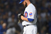 Jon Lester #34 of the Chicago Cubs prepares to pitch in the first inning against the Colorado Rockies during the National League Wild Card Game at Wrigley Field on October 2, 2018 in Chicago, Illinois.