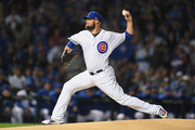 Jon Lester #34 of the Chicago Cubs pitches in the first inning against the Colorado Rockies during the National League Wild Card Game at Wrigley Field on October 2, 2018 in Chicago, Illinois.
