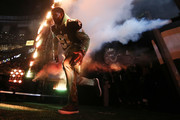 Former member of the New Orleans Saints Reggie Bush runs out during team introductions at the Mercedes-Benz Superdome on January 7, 2018 in New Orleans, Louisiana.
