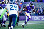 Adrian Peterson #28 of the Minnesota Vikings carries the ball in the first quarter against the Seattle Seahawks during the NFC Wild Card Playoff game at TCFBank Stadium on January 10, 2016 in Minneapolis, Minnesota.