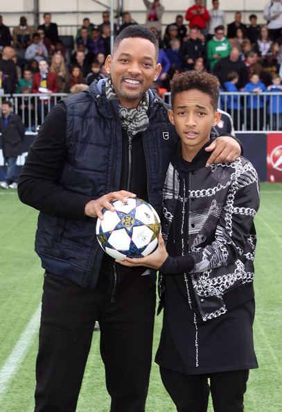 Will Smith and son Jaden Smith attend UEFA's Champions Festival which comes to London to coincide with Wembley hosting the Champions League final at Queen Elizabeth Olympic Park on May 25, 2013 in London, England.  Jaden Smith and Will Smith are in London ahead of the release of their film 'After Earth'.