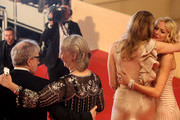 """L-R Woody Allen, Gemma Jones, Lucy Punch and Naomi Watts leave the """"You Will Meet A Tall Dark Stranger"""" Premiere at the Palais des Festivals during the 63rd Annual Cannes Film Festival on May 15, 2010 in Cannes, France."""