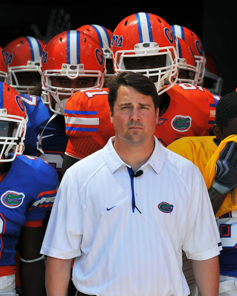 Will Muschamp Coach Will Muschamp of the Florida Gators takes the field before the Orange and Blue spring football game April 9, 2010 Ben Hill Griffin Stadium in Gainesville, Florida.
