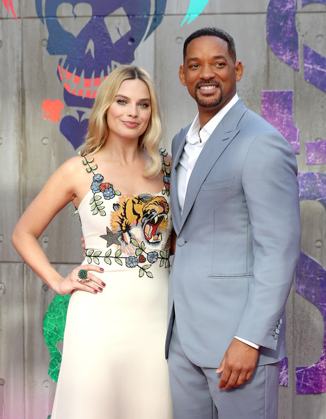 'Suicide Squad' - European Premiere - Red Carpet Arrivals [fashion,yellow,event,formal wear,suit,dress,fashion design,smile,happy,tuxedo,red carpet arrivals,will smith,margot robbie,european,england,london,odeon leicester square,suicide squad,premiere,european premiere]