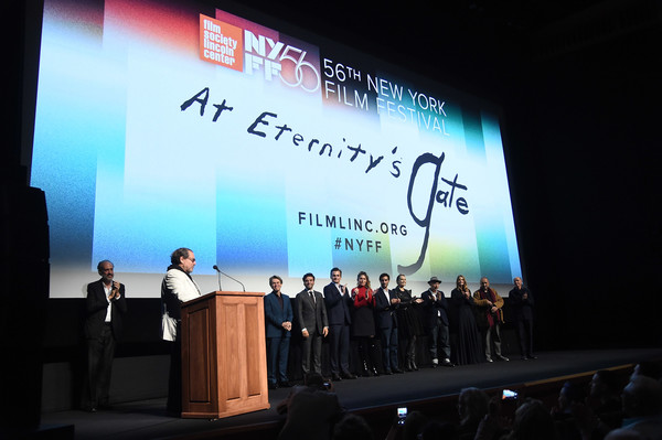 56th New York Film Festival - 'At Eternity's Gate' - Intro [at eternitys gate,intro,projection screen,stage,display device,projector accessory,convention,event,academic conference,presentation,technology,stage equipment,julian schnabel,willem dafoe,stella schnabel,tatiana lisovkaia,benoit delhomme,louise kugelberg,vladimir consigny,new york film festival]