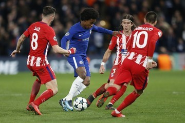 Willian Filipe Luis Chelsea FC v Atletico Madrid - UEFA Champions League