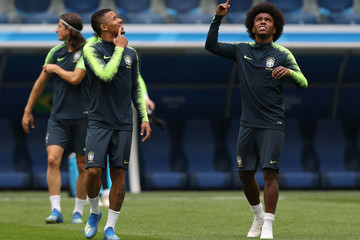 Willian Gabriel Jesus Brazil Training And Press Conference